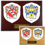 Family Crest Wedding or Anniversary Plaque, Oak or Mahogany ref FCLP